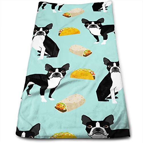 (Gysdf7fst4 Boston Terrier Tacos Kitchen Dish Towels with Vintage Design for Kitchen Decor Super Absorbent 100% Natural Cotton Kitchen Towels,12