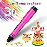 Sunfuny 3D Pen for Kids, Low Temperture 3D Doodler Printing Drawing Printer Pen Kit, Bonus Non Toxic PCL Filament Refiils 11 Colors 110 Feet,Safe 3D Print Pen Toys Gift for Kids Adults Arts,Pink