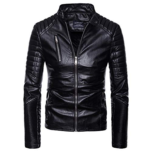 Clearance Sale for Men Coat.AIMTOPPY Fashion Fashion Men's Autumn Winter Long Sleeve Solid Lapel Motorcycle Leather Coat