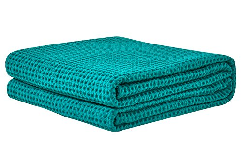 (PHF Cotton Waffle Weave Bed Blanket Lightweight and Breathable Perfect for Bed Home Decor Queen Size Green)