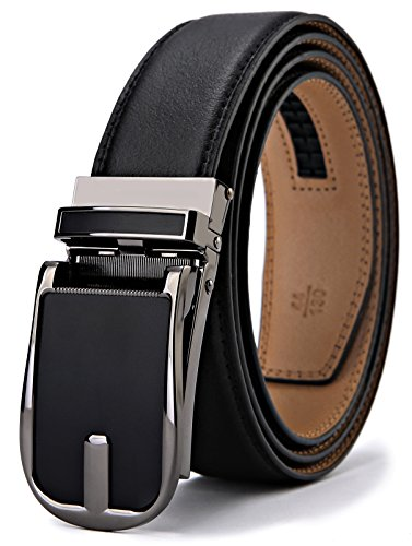 Latch Belt - Belt for Men,Bulliant Men's Click Ratchet Belt Of Genuine Leather,Trim to Fit