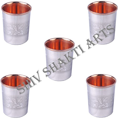 SHIV SHAKTI ARTS 3.5'' X 2.8'' Set Of 5 Handmade Solid Copper Stainless Stainless Steel Designer Glass Cup Volume 250 Ml For Use Drinking Water Restaurant Home Hotel Garden Ware Good Health Benefits by SHIV SHAKTI ARTS