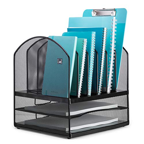 (Mindspace Desktop File Organizer - 6X Vertical Notebook/Letter Holders + 2X Horizontal Shelf Sections - Extra Strong Metal Mesh - Great for Teachers, Decor, Desk Organizers or Office Organization )