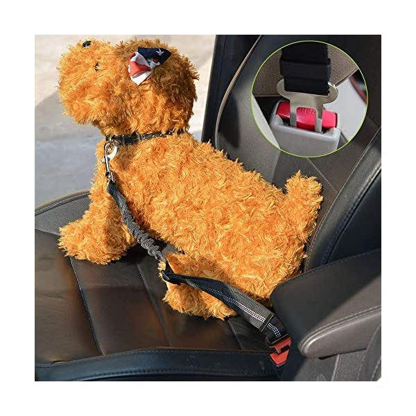 SlowTon Dog Car Harness Plus Connector Strap, Multifunction Adjustable Vest Harness Double Breathable Mesh Fabric with Car Vehicle Safety Seat Belt .(Dark Blue, Medium) 3