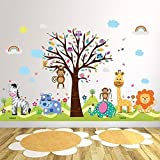 Wallflexi Office Home Decoration Wall Stickers 'Happy Hills & Zoo' Wall Murals Removable Self-Adhesive Decals art Nursery Kindergarden School Baby Toddler Children Kids Room Decoration, multicolour