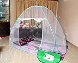 AmazingHind Mosquito Net Single Bed with base which made up of white net, White Polyester Foldable Mosquito Net for Single Bed with Blue Border (Color: White | Size: 190 cm x 120 cm)