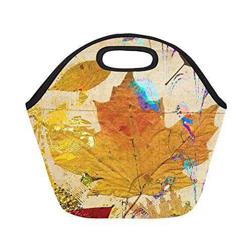 Insulated Neoprene Lunch Bag Leaf Collage Autumn Leaves Gold Red Nature Large Size Reusable Thermal Thick Lunch Tote Bags For -lunch Boxes For Outdoors,work, Office, School