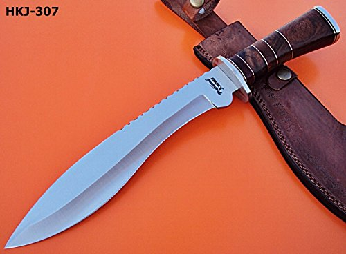 Poshland Knives REG-HKJ 307- Handmade 440c Stainless Steel Hunting Knife – Stunning Rose & Wall Nut Wood Handle