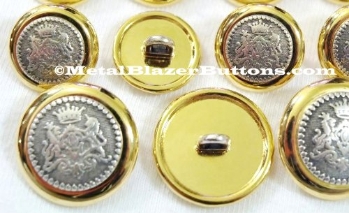 MetalBlazerButton.co PREMIUM GOLD Inlaid Silver Crest METAL BLAZER BUTTON SET