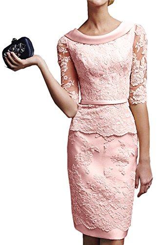 Etuikleider Braut Marie Blau Brautmutterkleider mit La Langarm Spitze Rosa Knielang Promkleider Damen Perlen Royal Abendkleider T05dxqw