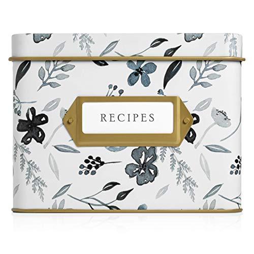 Jot & Mark Decorative Tin for Recipe Cards | Holds Hundreds of 4×6 Cards (Indigo Floral)