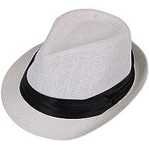 AshopZ Women Men Summer Double Colors Straw Fedora Hat w/ Rasta Band