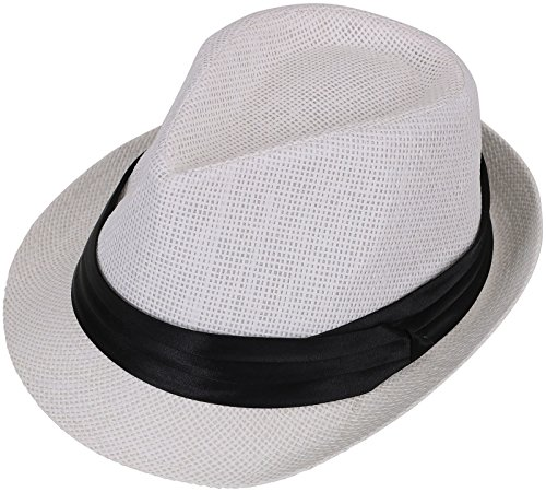 Livingston Unisex Summer Straw Structured Fedora Hat w/Cloth Band, White, S/M