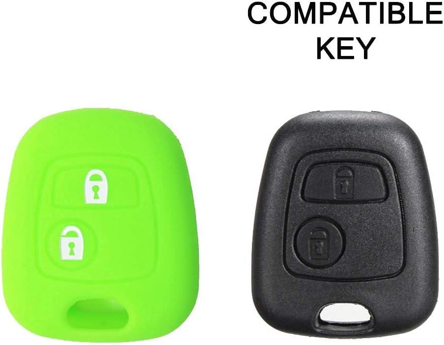 Coque de Silicone Cover cl/é pour t/él/écommande Citro/ën C1 C2 C3 C5 et Peugeot 103 106 107 206 207 307 308 406 407 508 806 1007-2 Boutons Bleu
