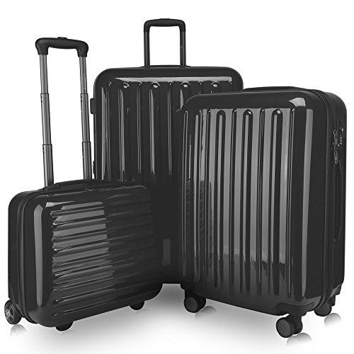 (HAUPTSTADTKOFFER -Tegel Luggages Sets Suitcase Sets Hardside Spinner Trolley Expandable (20'&24'&28') TSA Black)
