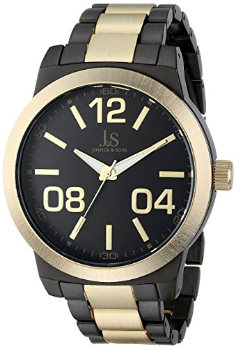 Joshua & Sons Men's JS82TTG Dark Gray and Yellow Gold Quartz Watch With Black Dial and Two Tone Bracelet