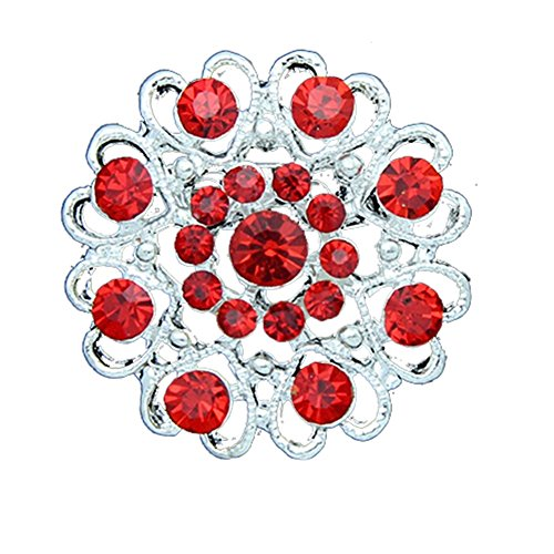 dds5391 Rhinestone Crystal Brooch Hollow Out Collar Pin Silver Plated Flower Jewelry - Red