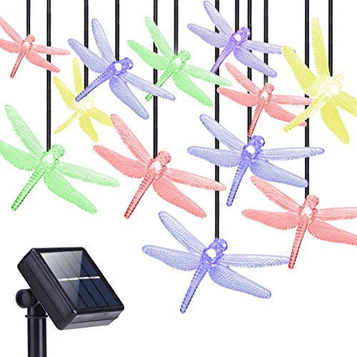 DecorNova Solar String Lights, 20 LEDs Dragonfly Solar Fairy Lights with Waterproof Solar Panel & 2 Lighting Modes for Outdoor Garden Patio Yard Party Christmas Holidays,13 Feet, Multi Color (Gnome New Panel)