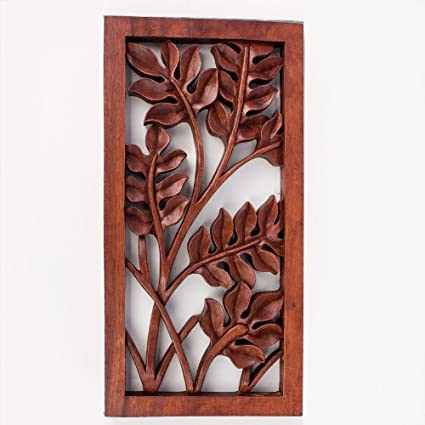 Balinese traditional leaves flower carved wood relief panel bali