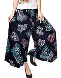 UCSCAN Womens Comfy Elastic Waist Cotton&Linen Floral Culottes Wide Leg Pants Color 44 Size L