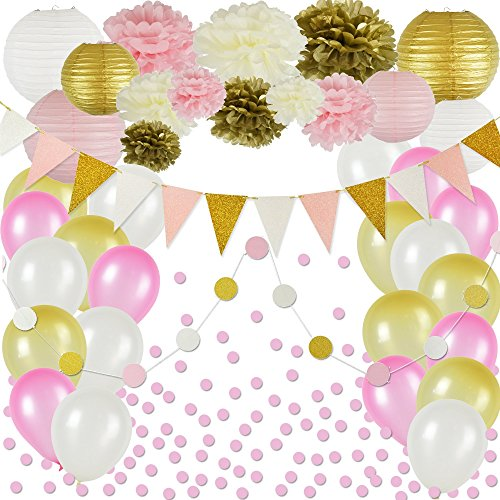 Pink and Gold Party Decorations, 50 pc Party Supply Set, Paper Pom Pom Flowers, Paper Lanterns, Glitter Polka Dot Garland, Glitter Triangle Garland, Balloons, Confetti - Adult Party Decorations