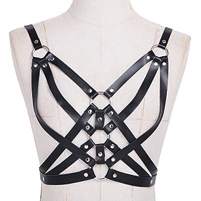 iiniim Women's PU Leather Adjustable Body Chest Harness Belt Buckles O-Rings