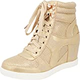 Cambridge Select Women's High Top Closed Toe Lace-up Perforated Hidden Wedge Fashion Sneaker,6.5 B(M) US,Champagne