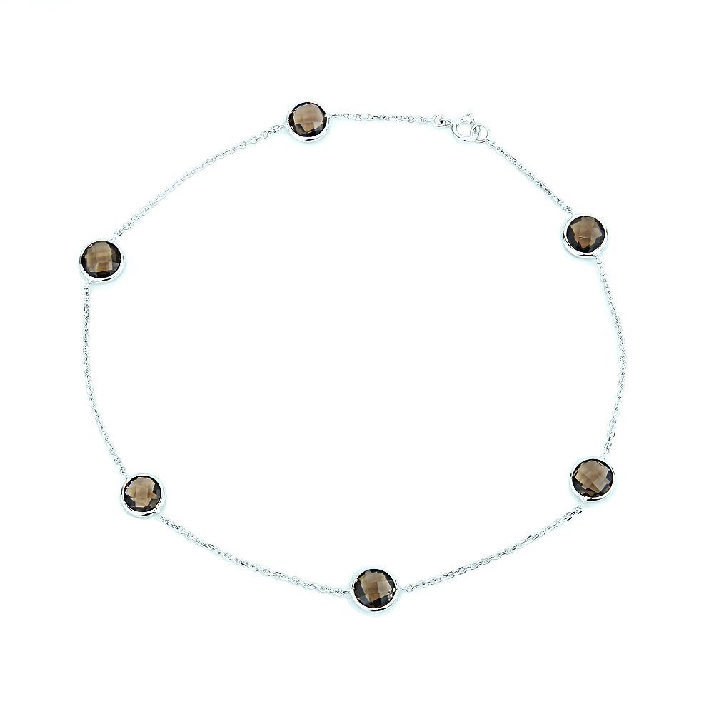 14k White Yellow Gold Anklet Bracelet With 6mm Fancy Cut Round Smoky Quartz Gemstones 9 - 11 Inches