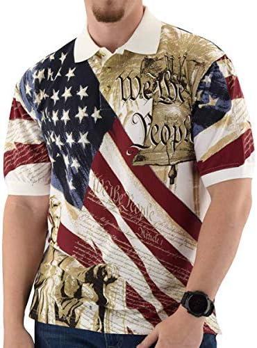 Cotton Traders TheFlagshirt Men's American Flag Patriotic Golf Shirt