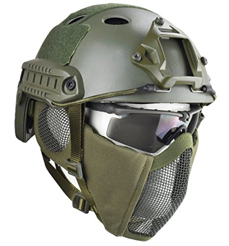 Jadedragon PJ Tactical Fast Helmet & Protect Ear Foldable Double Straps Half Face Mesh Mask & Goggle(Green)