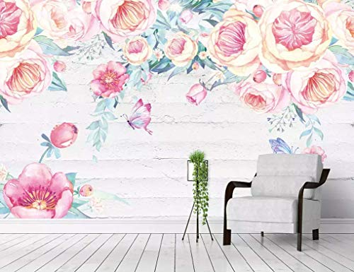 Amazon Com Murwall Watercolor Floral Wallpaper Vintage