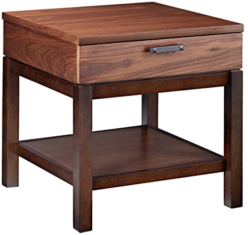 Lacquer Round Accent Table - Furniture At Home Food & Wine Estate Collection End Table, Dark Chocolate/Walnut