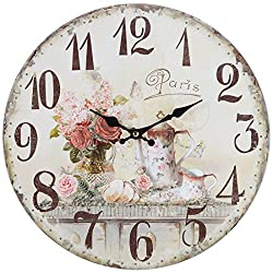 Lily's Home Vintage French Kitchen Wall Clock, Crafted with a Beautiful Distressed Design and French Tea Time Illustration (13 Inches)