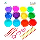 12 PCS Magic Crystal Soft Free Slime Toy Art Set for Kids for Autistic Children Educational Toys Girls Clay DIY Toys (Pack of 12 Pots,12 Color)