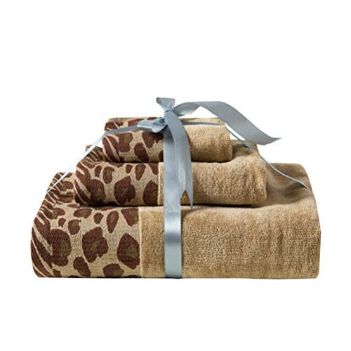 Desun 3 Pack 100% Cotton Premium Bath Towels Set for Bathroom Absorbent Quick Dry Towels Hotel and Spa Quality (Leopard)