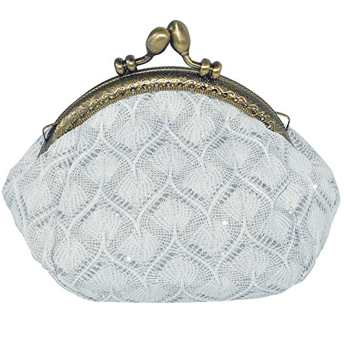 Oyachic Coin Purse Key Pouch Clasp Closure Classic Knitting Card Wallet Gift Round (White) - Coin Purse Antique