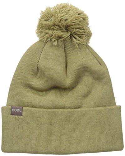 Coal Men's The Pablo Fine Knit Beanie Cuffed Hat Pom, Khaki, One Size -