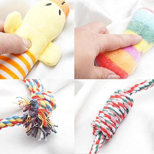 YUNKINGDOM (Pack of 12) Dog Rope Toys Squeaky Plush Dog Toys,Dog Chew Toys Set for Puppies and Small Dogs(Pack of 12) by YUNKINGDOM (Image #5)