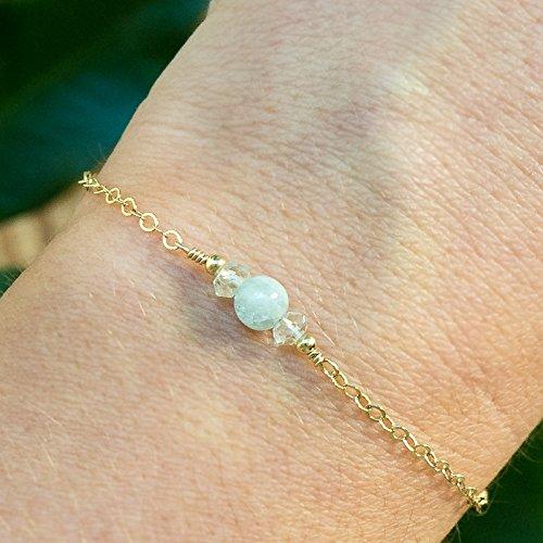 - Dainty Crystal Aquamarine Bracelet in 14k Gold Fill - March Birthstone