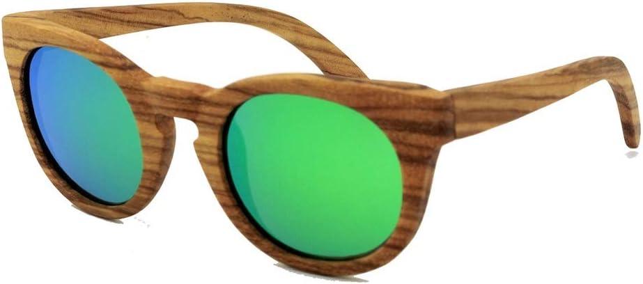 JKHOIUH Gafas de Sol Redondas de Madera Retro, Gafas de Sol de Moda polarizadas, Gafas de Sol Estilo Vintage, Gafas de Sol de Gama Alta Vintage para Viajes al Aire Libre (Color : Verde)