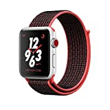 Apple Watch Series 3 Nike+ - GPS+Cellular - Silver Aluminum Case with Bright Crimson/Black Nike Sport Loop - 38mm