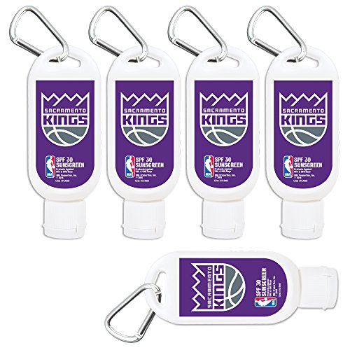 Sacramento Kings Sport Sunscreen 5-Pack SPF 30 Travel Size with Clip, Water and Sweat Resistant 80 Minutes, UVA UVB Protection