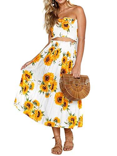 (Women's Floral Bandeau Top Maxi Skirt Set-Skirt Two Piece Outfit Set S)