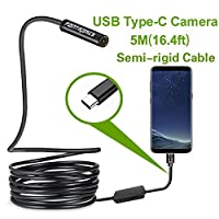 Fantronics 5 Meter(16.4ft)Rigid Cable USB C Endoscope Type C Borescope Inspection Camera 2.0 Megapixels HD Snake Camera for Android Samsung Galaxy S8, Google pixel, Nexus 6p, HTC 10, Huawei V9