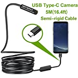 USB Snake Inspection Camera,Fantronics 2.0 MP IP67 Waterproof USB C Borescope,Type-C Endoscope with 8 Adjustable LED Lights for (16.4ft) Samsung Galaxy S9/S8, Google Pixel, Nexus 6p, Huawei P20