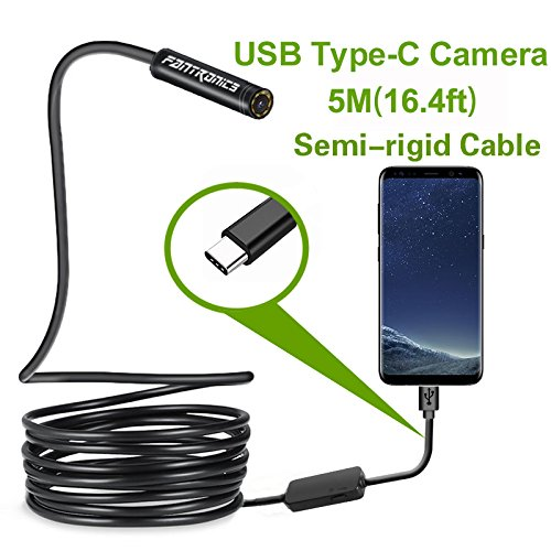 Flexible Endoscope - USB Snake Inspection Camera,Fantronics 2.0 MP IP67 Waterproof USB C Borescope,Type-C Scope Camera with 8 Adjustable LED Lights for (16.4ft) Samsung Galaxy S9/S8, Google pixel, Nexus 6p(Not for iPhone)