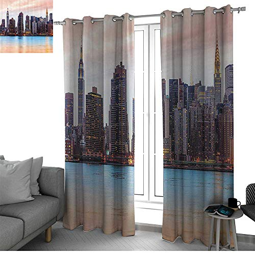 bybyhome New York Thermal Insulated Blackout Patio Door Curtain Panel Manhattan Skyline Midtown View from The Lake USA American City Artsy Picture Kids Room Decor Peach Blue Mauve W108 x L108 Inch ()