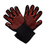 TabEnter Extra Length Extreme Heat Resistant 932°F Grill Gloves, Great Grilling, Cooking, Baking, BBQ, Fireplace, Freezer ETC Red Silicone Insulated (13 inch 1 Pair)