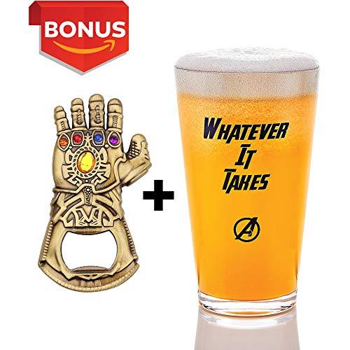 Infinity Gauntlet Style Beer Bottle Opener + 17 oz Beer Glass for Marvel, Infinity War Avengers Fans, Craft Beer Lovers, Bartenders (Bundle)