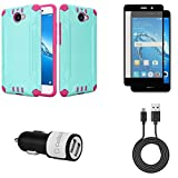 Huawei Ascend XT2 - Bundle: Slim Fit Shockproof [Perfect Fit | Non Bulky] Brushed Armor Rugged Case - (Teal / Pink), Screen Protector, 10W High Power Dual Car Charger, Micro USB Cable, Atom Cloth